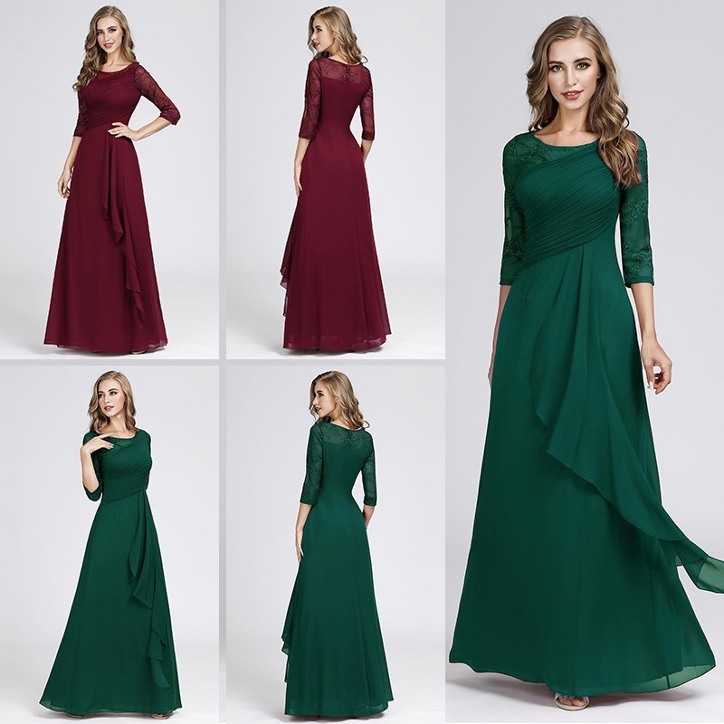 Evening     Dresses   Long 2019 Elegant A-line Lace Half Sleeve Vestidos De Fiesta De Noche Sexy Plus Size Burgundy Formal Party Gowns