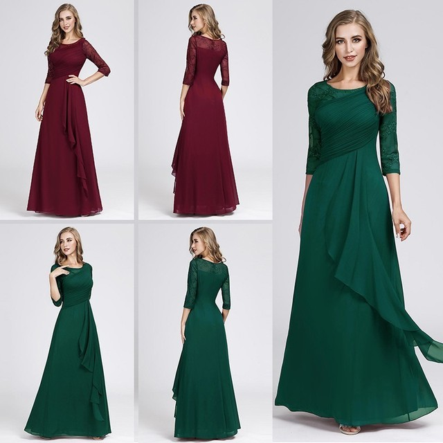 2474f90b7e US $24.99 40% OFF|Evening Dresses Long 2019 Elegant A line Lace Half Sleeve  Vestidos De Fiesta De Noche Sexy Plus Size Burgundy Formal Party Gowns-in  ...
