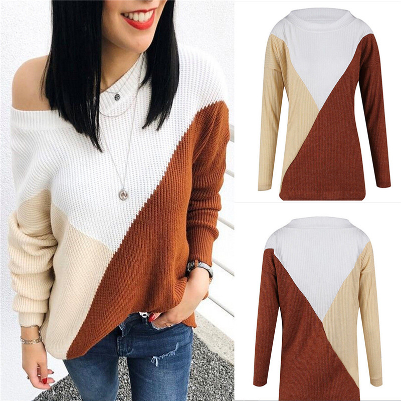 Sexy One shoulder split knitted sweater Women brand pullovers knitwear Autumn winter 2018 white jumper pull femme