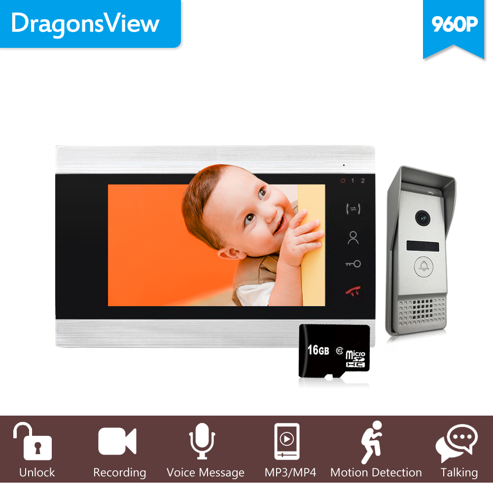 Dragonsview 7 Inch 960P HD Wired Video Intercom System bell with camera Wide Angle Motion Detection