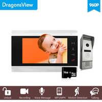 Dragonsview 7 Cal 960P HD przewodowy domofon wideo dzwonek z kamery szeroki kąt nagrywania detekcji ruchu odblokować rozmowy
