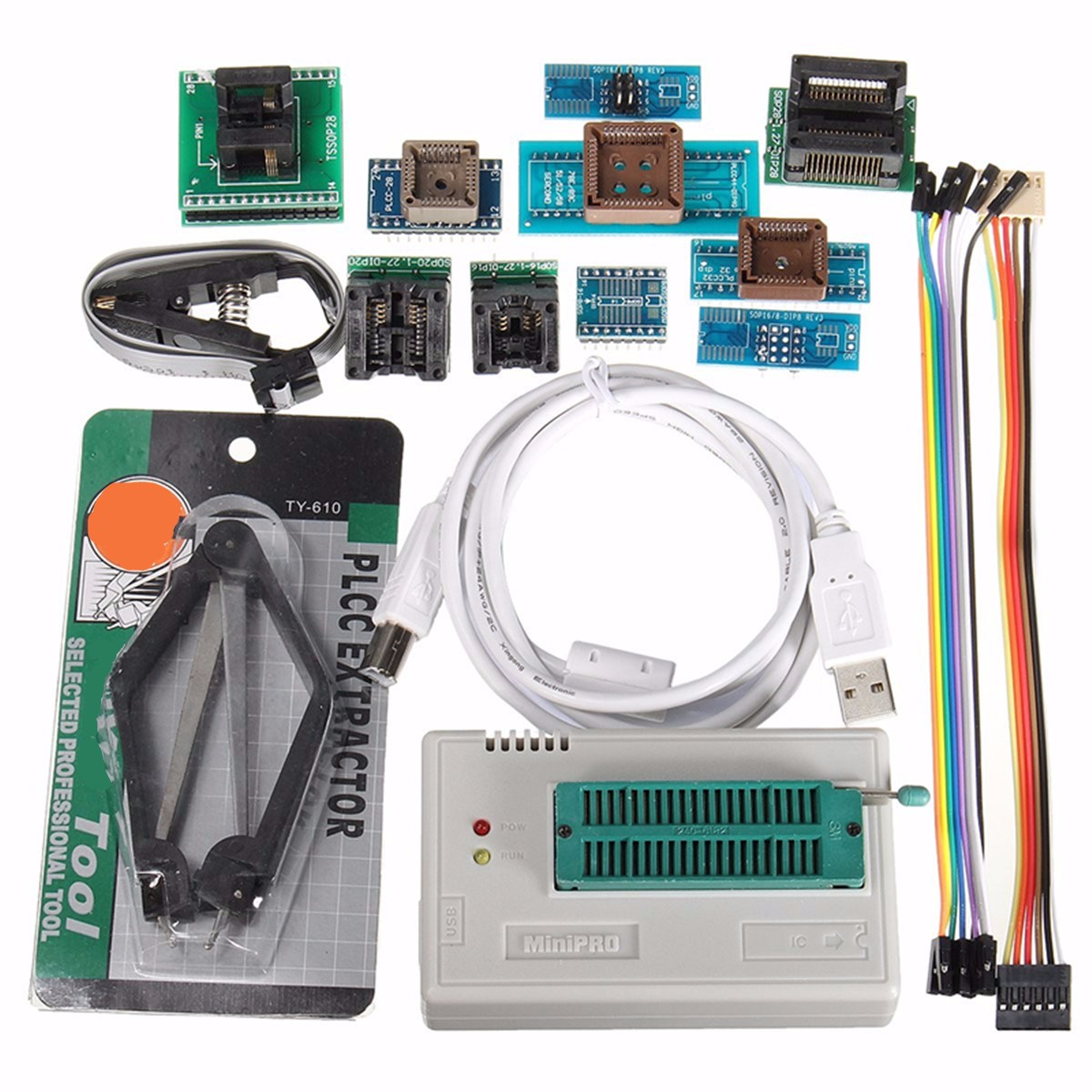 Wholesale TL866II USB Mini Pro Programmer With 10pcs Adapter EEPROM FLASH AVR MCU SPI ICSPWholesale TL866II USB Mini Pro Programmer With 10pcs Adapter EEPROM FLASH AVR MCU SPI ICSP