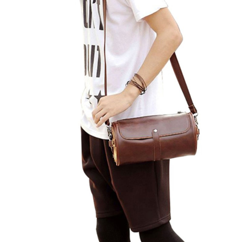 62ae597cba ETONWEAG Men Crazy Horse Leather Sling Bag Round Messenger Bag Shoulder Bag  CrossBody Beg