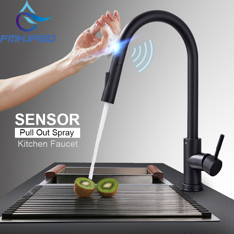 Stainless Steel Sensor Kitchen Faucets Black Touch Inductive Sensitive Faucet Mixer Tap Single Handle Dual Outlet Water Modes(China)