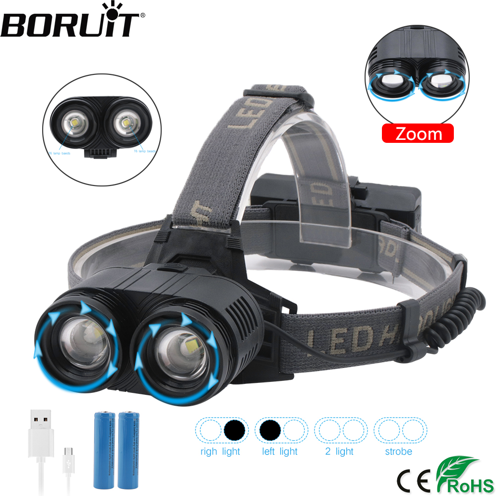 BORUiT F529 4000lumens 2* T6 LED Headlamp 4-Mode Zoom Headlight Rechargeable Head Torch Camping Flashlight By 18650 Battery