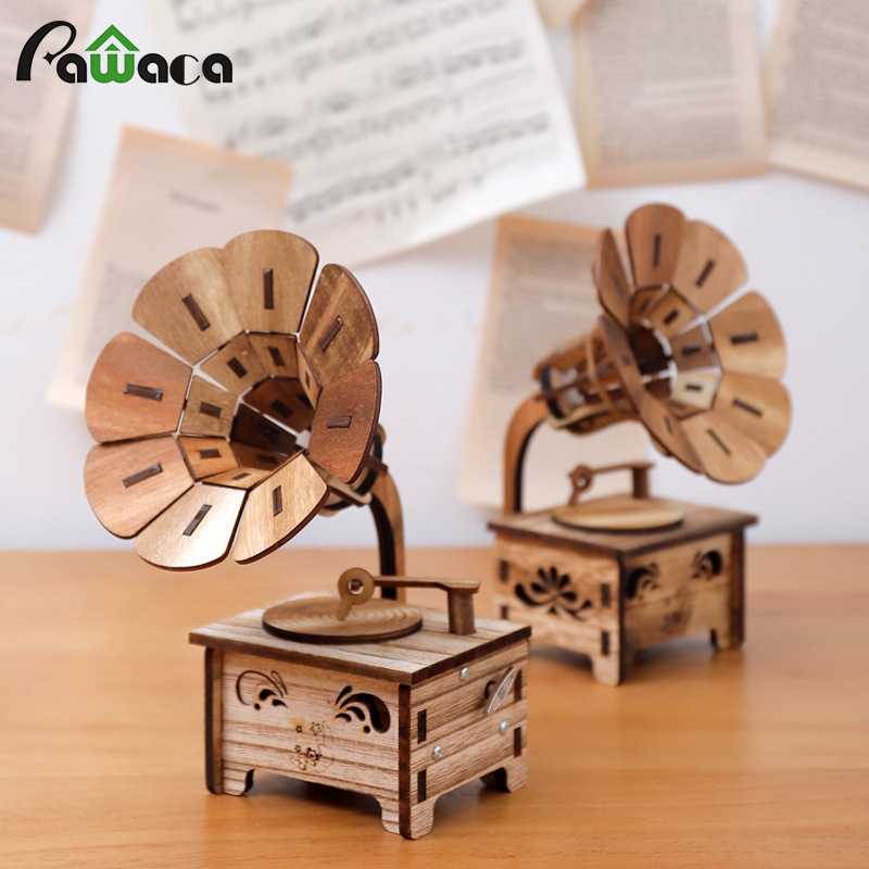 1 Stück Holz Gramophone Musik Box Ornament, Retro Holz Handkurbel Music Box Für Geburtstag Geschenk Tabelle Handwerk Hause Dekoration Gesundheit FöRdern Und Krankheiten Heilen