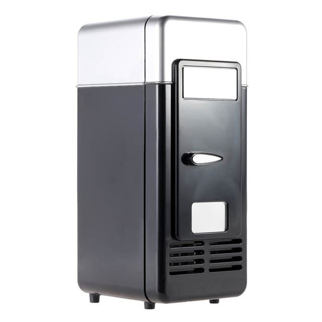 USB Mini Fridge Portable Mini Refrigerator Beverage Drink Freezer With LED Ligth For Home Office Car Cooling and Heating