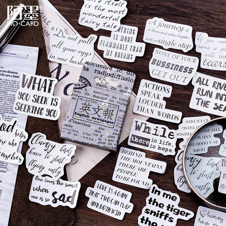 46PCS/box New English Newspaper Paper Lable Sealing Stickers Crafts Scrapbooking Decorative Lifelog DIY Stationery Sticker