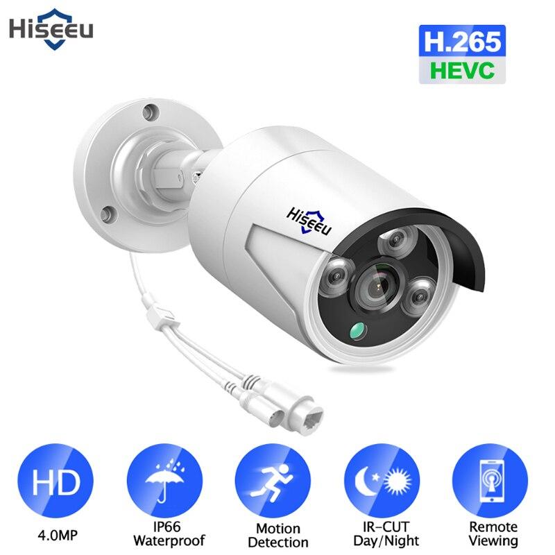 Hiseeu H.265 4.0MP sécurité IP caméra POE extérieur étanche IP66 CCTV caméra P2P vidéo Surveillance sécurité à domicile ONVIF 48 V PoE
