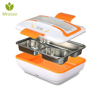 1PC 220V Portable Electric Heating Container Stainless Steel Food Meal Warmer For Office Home Travel Car Dinnerware
