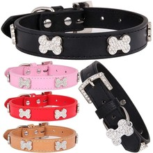 Fashion Rhinestone Bone Pet Dog Collar PU Leather Puppy Collars for Small Medium Large Supplies XS/S/M/L Dropshipping