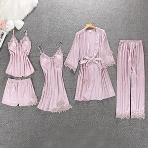 Image 1 - Lisacmvpnel 5 Pcs With Pad Sexy  Lace Pajama Set  Nightgown+Cardigan+Pant Set Lace Pijama For Women