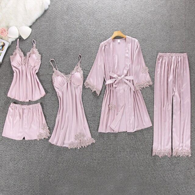 Lisacmvpnel 5 Pcs With Pad Sexy  Lace Pajama Set  Nightgown+Cardigan+Pant Set Lace Pijama For Women
