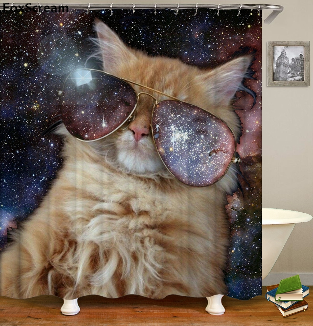 Cat Bath Shower Curtain Funny Star Space Waterproof Cat Shower Curtains Bathroom Curtain Fabric Bathroom Curtains For Bathroom