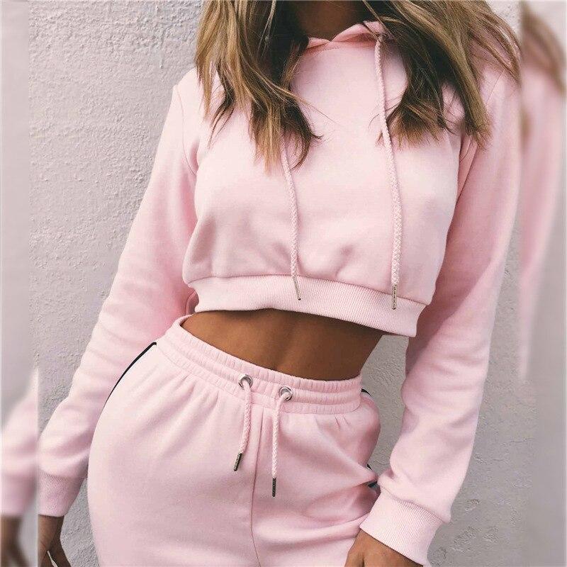 Зимний модный женский спортивный костюм для активного отдыха с высокой талией, розовый с капюшоном + штаны, бархатный теплый однотонный спортивный костюм для бега, Mujer, 2 предмета, топ с пупком Наборы для бега      АлиЭкспресс