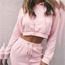 Winter Fashion Women Active Sport Suit High Waist Pink Hooded+pants Velvet Warm Solid Fitness Jogging Mujer 2 Piece Navel Top