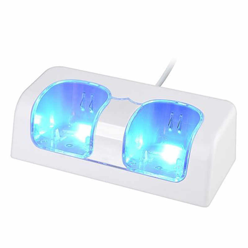 Use Blue LED Light White Remote Controller Dual Charging Dock Station+2X 2800mAh Battery Pack forWii Remote Control