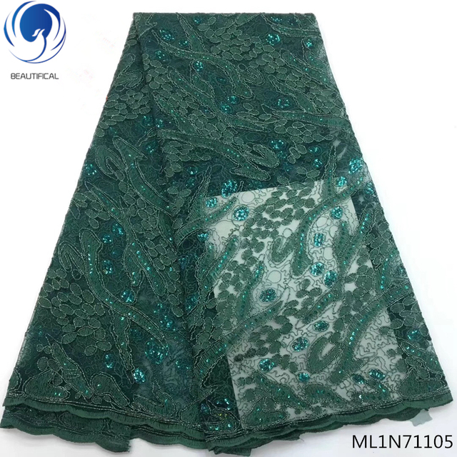 BEAUTIFICAL nigerian lace velvet lace fabric with sequins african green lace fabric for clothing online sales ML1N711