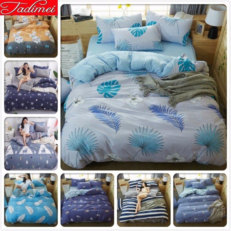 3/4 Pcs Bedding Set Duvet Cover Sheet Pillow Case Soft Cotton Bed Linen Adult Kids Single Full Queen King Size Bedspread 180x220