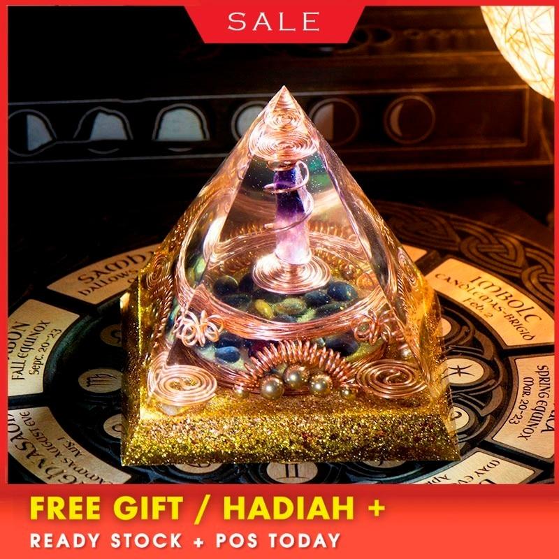 AURA REIKI Orgonite Divination Pyramid Natural Crystal Magnetic Field Converter Exorcise Evil Spirits Pyramid Resin Crafts C0054