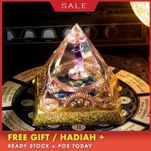 AURA REIKI Orgonite Divination Pyramid Natural Crystal Magnetic Field Converter Exorcise Evil Spirits Resin Crafts C0054