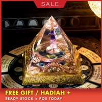 AURA REIKI Orgonite Divination Pyramid Natural Crystal Magnetic Field Converter Exorcise Evil Spirits Pyramid Resin Crafts C0054