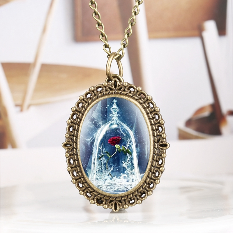 Popular Beauty And The Beast Red Rose In A Glass Dome Quartz Pocket Watch Necklace Pendant Chain Souvenir Gifts AS Collectibles