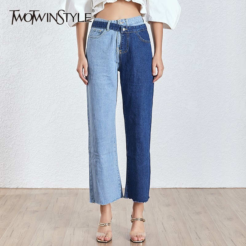 TWOTWINSTYLE Patchwork Blue Jeans For Women High Waist Irregular Large Size Summer Denim Long Trousers 2020 Fashion  Clothing