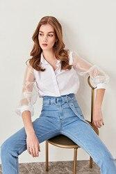 Trendyol Bianco Del Manicotto Del Organza Camicia TWOSS19EH0079
