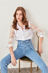 Trendyol White Organza Sleeve Shirt TWOSS19EH0079