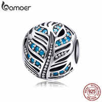 BAMOER High Quality Real 925 Sterling Silver Free Feather Beads Dazzling Blue CZ Charm fit Bracelet DIY Jewelry Making SCC954