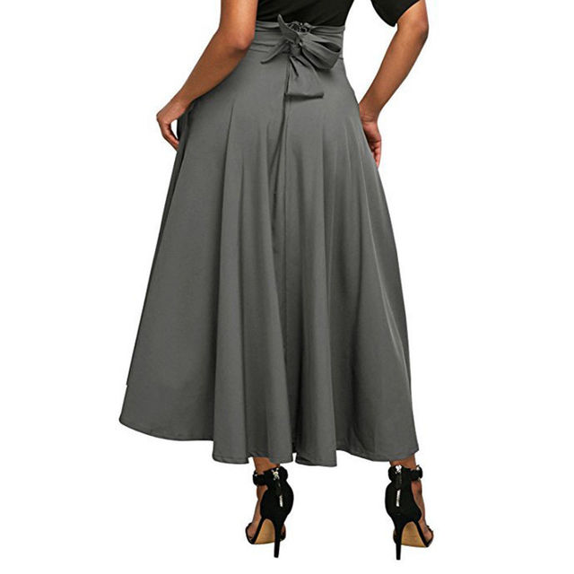 Woman Fashion Comfy Casual High Waist Pleated Long Skirts Women Vintage Flared Full Skirt Swing Satin Skirt