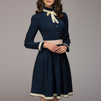 Womens Military Button Skater Swing Dresses Formal Long Sleeve Ladies Business