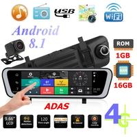 9.66 Inch 4G Android 8.1 Car Rearview Mirror DVR Camera GPS Navigator ADAS Night Vision Dash Cam
