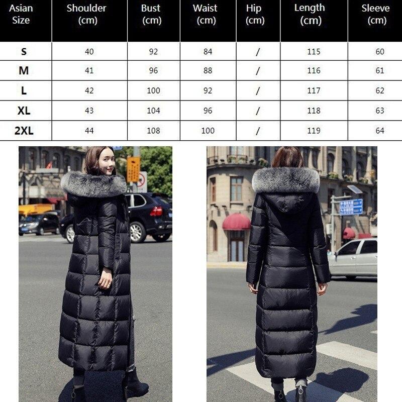 De Noir Mince Manteau Doudoune 2018 Black Femme Hiver Fourrure Plume Parka Long Vêtements Outwear Okq066 Canard Duvet Blanc D'oie Col Chaud 53ALqc4Rj