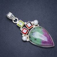 Natural Ruby Zoisite,Garnet,River Pearl and Peridot Handmade Crown 925 Sterling Silver Pendant 2 A0273