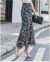 2019 Casual Women Floral Print Long Skirts Chiffon Plus Size Bohemian Skirts Ruffles High Waist Ankle Length Skirts