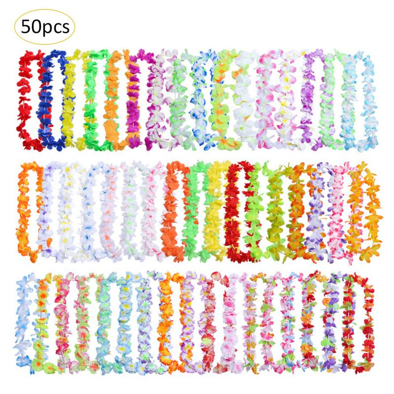 50pcs Artificial Wreath Hawaiian Leis Garland Necklace Hawaii Flowers Party Supplies Beach Wreath DIY Gift Wedding Decorations