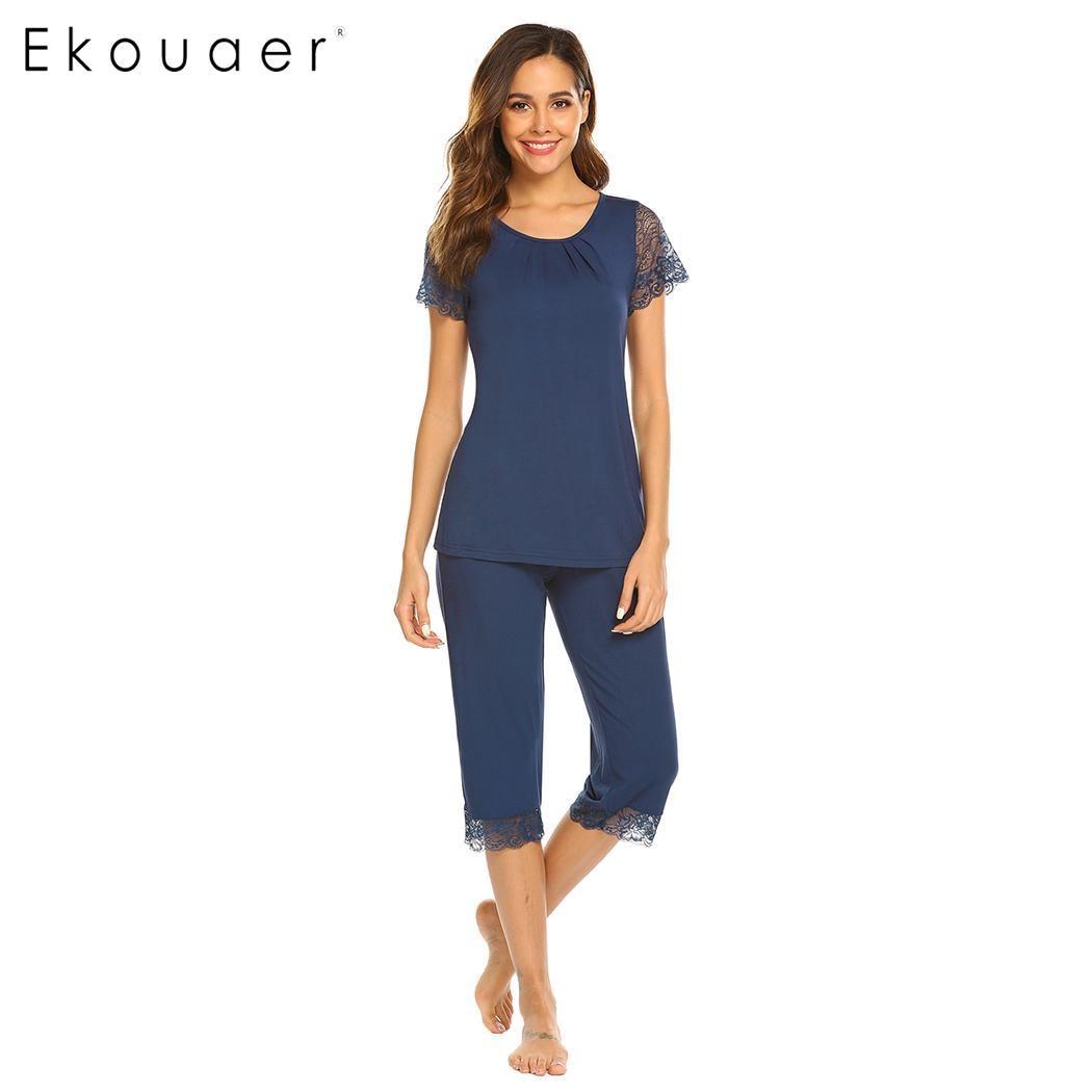 Ekouaer Women Sleepwear   Pajamas     Set   Pure Color Round Neck Short Sleeve Lace Patchwork Rayon Pyjamas Summer Lingerie   Pajama