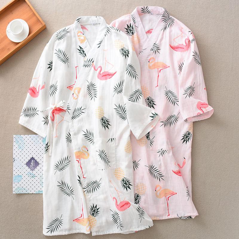 Pure Cotton Gauze Thin Section Japanese Pajamas Home Wear Bathrobe Kimono Yukata Printing Women Loose Nightgown Sleepwear New