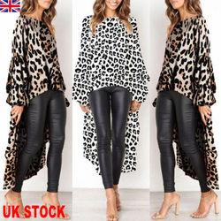2019 Newest Fashion Women Leopard Print Casual High Split Tops Long Maxi Shirt Dress Sexy 1