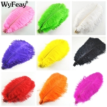 Hot 100 Pcs 30-35cm beautiful cheap colored ostrich feathers diy jewelry accessories wedding decorations plume Feather ostrich