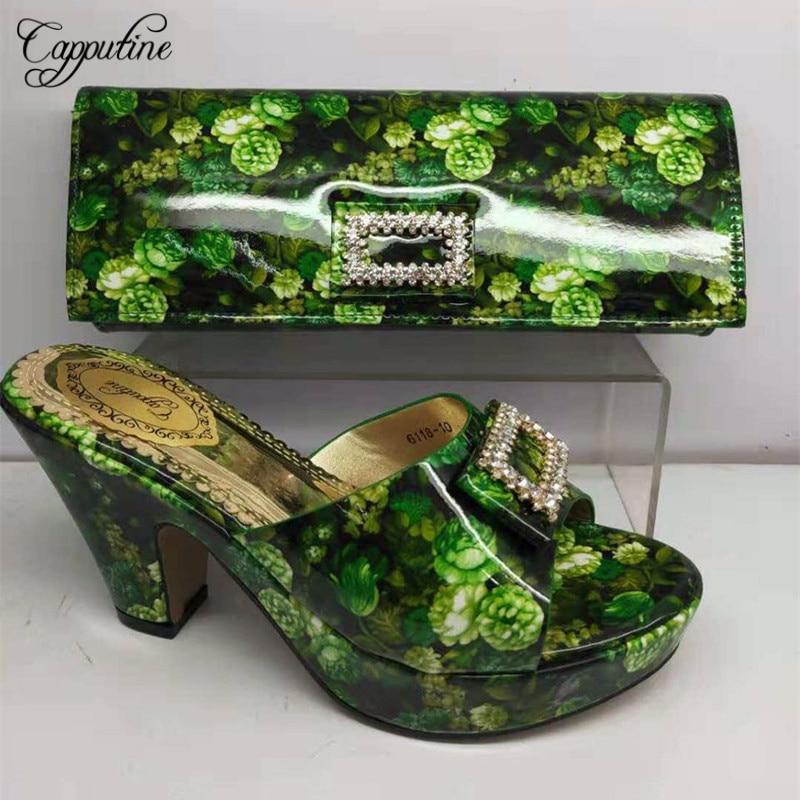 Capputine Italian Design PU With Rhinestone Pumps Shoes And Bag Set For Wedding Nigerian Women Shoes And Bag Set BL135C