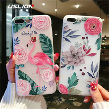 USLION 3D Flamingo Flower Cover For iPhone 7 8 Plus X XR XS Max Floral Phone Case For iPhone 7 6s Plus Soft Silicon Coque Cover цена и фото