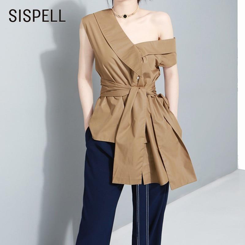 SISPELL Off Shoulder Women Tops And   Blouse     Shirts   V Neck Sleeveless High Waist Bandage Slim Tops Female   Blouses   Fashion New 2019