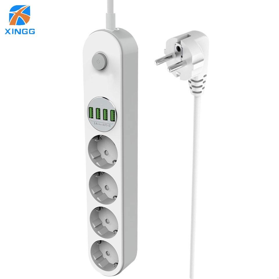 EU Europäische Plug Power Streifen Mit Schalter 4 Outlets 4 USB Multi Steckdose Kabel Kabel 2,0 M Surge Protector netzwerk Filter