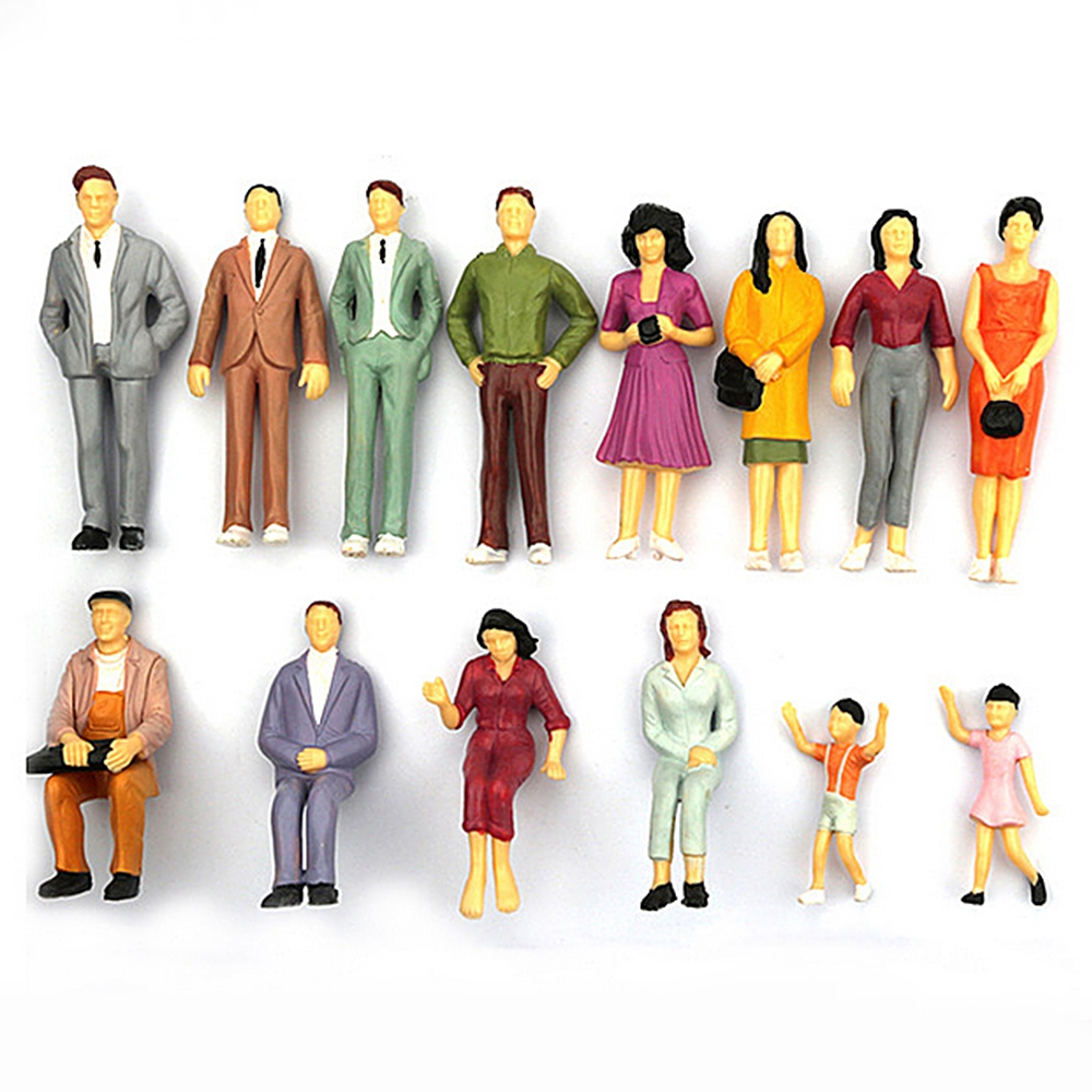 100 Pcs 1:100 Mini Scale Model People Painted Miniature People Figures Painted Train Passenger Model Toy Miniatures Gift