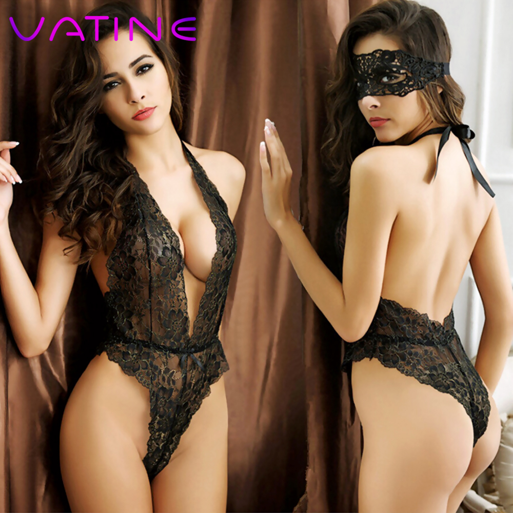 VATINE Sex Dress Perspective Lace Temptation Eye Mask Sexy Lingerie Erotic Underwear Adult Games Open Back Piece Pajamas