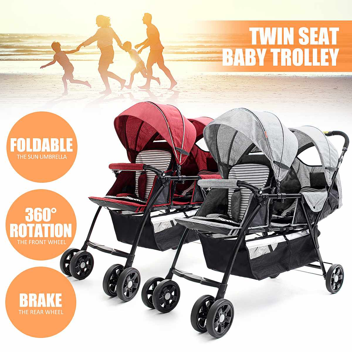 2 Seats Foldable Baby Trolley for Twins 360 Degree Rotation High Landscape Strollers for Baby Children Infant Pushchair2 Seats Foldable Baby Trolley for Twins 360 Degree Rotation High Landscape Strollers for Baby Children Infant Pushchair
