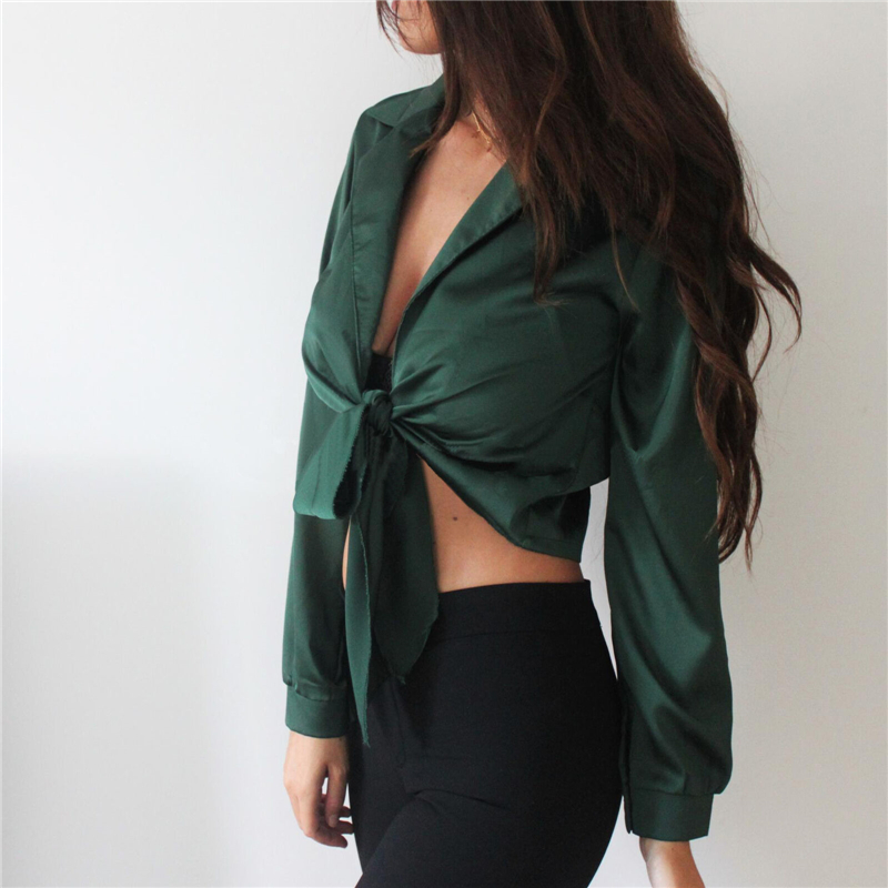 Women Shirt Summer Ladies Blouses Long Sleeve Blouse Casual Crop Top Solid Color Blouse Turn-down Collar Shirt Blusas De Mujer